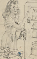 Mainstream Illustration, Gil Elvgren (American, 1914-1980). Ice Cold Coca-Cola.Charcoal on vellum. 13.375 x 10 in. (sheet). Not signed. ...