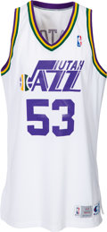 Basketball Collectibles:Uniforms, 1993-94 Mark Eaton Game Issued Utah Jazz Jersey....
