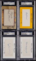 Autographs:Index Cards, Historic Autographs Hall of Fame Index Card Quartet (4) - LloydWaner, Marquard, & Greenberg. ...