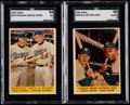 Baseball Cards:Lots, 1958 Topps Baseball SGC Graded Pair (2) With Mantle/Aaron W.S. Batting Foes....