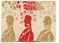 "Political:Textile Display (pre-1896), William Henry Harrison: Jacquard Coverlet Fragment or ""Repeat""...."