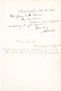 Autographs:U.S. Presidents, Abraham Lincoln Autograph Note Signed with Mary Todd LincolnSignature....