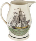 """Political:3D & Other Display (pre-1896), """"Success to America"""": A Colorful Liverpool Creamware Pitcher...."""
