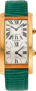 Timepieces:Wristwatch, Cartier Fine Gold Tank Cintree Double Time Zone Watch No. 001/90....