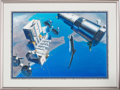 "Explorers:Space Exploration, Pat Rawlings Original Acrylic Painting ""Olympus International"",1985, in Framed Display. ..."