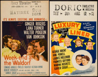 """Week-End at the Waldorf & Other Lot (MGM, 1945). Window Cards (2) (14"""" X 22""""). Comedy. ... (Total: 2 Items..."""