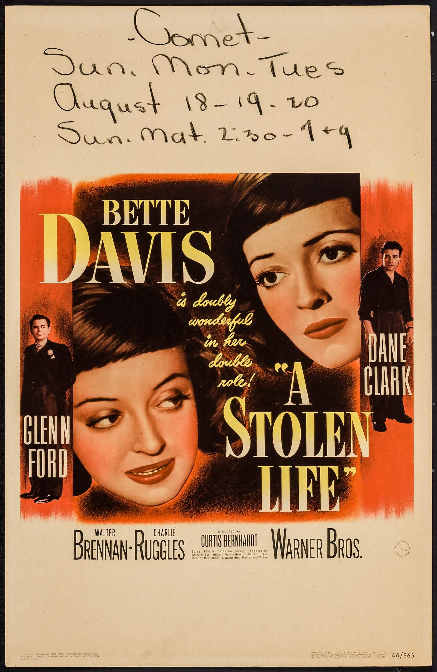 A Stolen Life (Warner Brothers, 1946)  Window Card (14