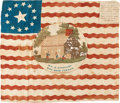 Political:Textile Display (pre-1896), William Henry Harrison: A Bold, Colorful 1840 Silk CampaignFlag....