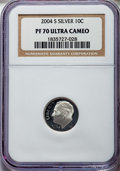Proof Roosevelt Dimes, 2004-S 10C Silver PR70 Ultra Cameo NGC. NGC Census: (2115). PCGSPopulation: (878). ...