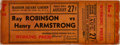 Boxing Collectibles:Memorabilia, 1943 Sugar Ray Robinson vs. Henry Armstrong Full Ticket....
