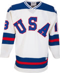 """Hockey Collectibles:Uniforms, 1980 Tim Harrer """"The Miracle on Ice"""" Game Issued USA Olympic HockeyJersey. ..."""