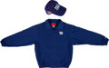 Football Collectibles:Uniforms, 2000's Tom Coughlin Game Worn New York Giants Jacket and Cap....