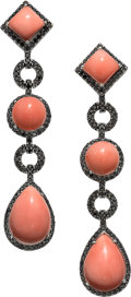 Estate Jewelry:Earrings, Coral, Colored Diamond, White Gold Earrings, Eli Frei . ... (Total:2 Items)