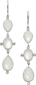Estate Jewelry:Earrings, Moonstone, Diamond, White Gold Earrings, Eli Frei. ... (Total: 2Items)