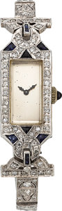 Estate Jewelry:Watches, Art Deco Elgin Lady's Diamond, Synthetic Sapphire, Platinum Watch....