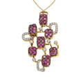 Estate Jewelry:Pendants and Lockets, Ruby, Diamond, Gold Pendant-Necklace. ...