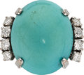 Estate Jewelry:Rings, Turquoise, Diamond, White Gold Ring . ...