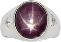Estate Jewelry:Rings, Gentleman's Star Ruby, Diamond, White Gold Ring . ...
