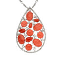Estate Jewelry:Pendants and Lockets, Coral, Diamond, White Gold Pendant-Necklace, Zydo. ...