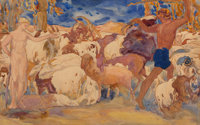 "Léon Bakst and Studio (Russian, 1866-1924) Landscape with Shepherds, Set Design for the ballet ""Daph"