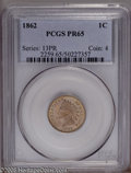 Proof Indian Cents: , 1862 1C PR65 PCGS. Light gold and salmon-pink colors embrace this exactingly struck Gem. Distributed gray toning flecks are...