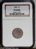1870 1C PR64 Brown NGC. The reverse of this deeply mirrored proof is full red, while the obverse is mostly brown with a...