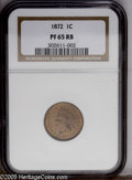 Proof Indian Cents: , 1872 1C PR65 Red and Brown NGC. A semi-key date as a business strike and scarce also as a high grade proof. This 1872 shows...
