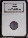 Proof Indian Cents: , 1882 1C PR64 Brown NGC. Phenomenal iridescent grape-purple toning on the obverse, with steel-blue highpoints. The reverse h...