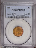 Proof Indian Cents: , 1884 1C PR65 Red PCGS. Fire-red and lime hues enrich this exquisitely struck and nicely reflective Gem. A few pinpoint toni...
