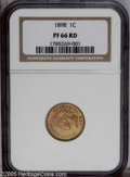 Proof Indian Cents: , 1898 1C PR66 Red NGC. An exceptional proof striking that shows bright orange-red color with just a touch of cherry-red inte...