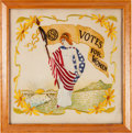 Political:Textile Display (1896-present), Women's Suffrage: Colorful WSP Embroidery....