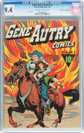 Golden Age (1938-1955):Western, Gene Autry Comics #4 Mile High Pedigree (Fawcett Publications,1943) CGC NM 9.4 Off-white to white pages....