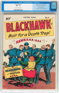Blackhawk #9 Mile High Pedigree (Quality, 1944) CGC NM+ 9.6 Off-white to white pages