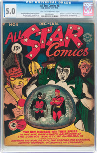 All Star Comics #8 (DC, 1942) CGC VG/FN 5.0 Light tan to off-white pages