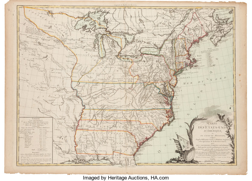 Brion De La Tour Map Of The United States And The Lot - Us in 1783 map