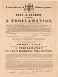 Political:Posters & Broadsides (pre-1896), Abraham Lincoln: 1863 Thanksgiving Proclamation. ...