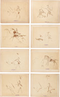 Photography:Stereo Cards, Eight Mounted Albumen Photos of Ledger Drawings: Including Three of Custer's Scout Bloody Knife, Who Was Killed Standing B... (Total: 8 Items)
