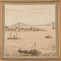 Antiques:Decorative Americana, Brooklyn Bridge Tapestry Table Cover....