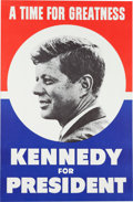 """Political:Posters & Broadsides (1896-present), John F. Kennedy: """"A Time for Greatness"""" Poster...."""