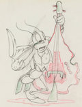 Animation Art:Production Drawing, Woodland Cafe Bass-Playing Grasshopper Animation Drawing(Walt Disney, 1937). ...