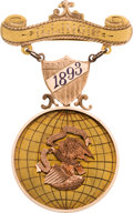 General Historic Events:World Fairs, Columbian Exposition or Chicago's World's Fair of 1893: Tri-Color Gold Commissioner's Badge....