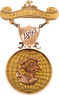 Columbian Exposition or Chicago's World's Fair of 1893: Tri-Color Gold Commissioner's Badge