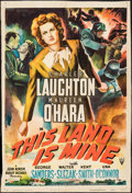 "Movie Posters:War, This Land is Mine (RKO, 1943). Trimmed One Sheet (26.5"" X 39.5"").War.. ..."