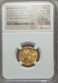 Ancients:Byzantine, Ancients: Constans II (AD 641-668) & Constantine IV (AD654-685). AV solidus (4.34 gm). NGC MS 5/5 - 4/5, clipped....