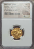 Ancients:Byzantine, Ancients: Constans II & Constantine IV (654-668). AV solidus(4.37 gm). NGC MS 4/5- 4/5, clipped....