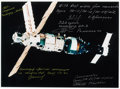 Autographs:Celebrities, Russian Mir Space Station Color Photo Signed by Five Long-DurationMir Mission Commanders. ...