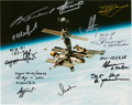Autographs:Celebrities, Russian Mir Color Photo from Its Final Year (2002), Signed byEleven Cosmonauts....