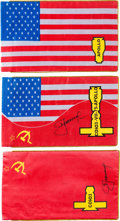 Autographs:Celebrities, Apollo-Soyuz Test Project: Set of Three Flags, Two Signed by AlexeiLeonov.... (Total: 3 Items)