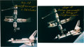 Autographs:Celebrities, Vladimir Dezhurov Signed Russian Mir / STS-71 Docking Color Photos (Two). ... (Total: 2 Items)