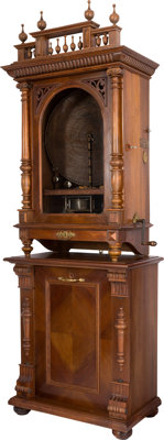 """Kalliope No. 176 Music Box 20 5/8"""" with 12 Saucer Bells on Disc Storage Cabinet"""